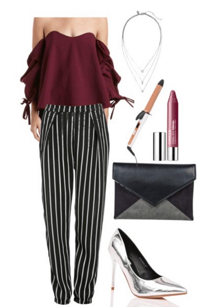 Bell sleeve top, striped pants, silver heels.