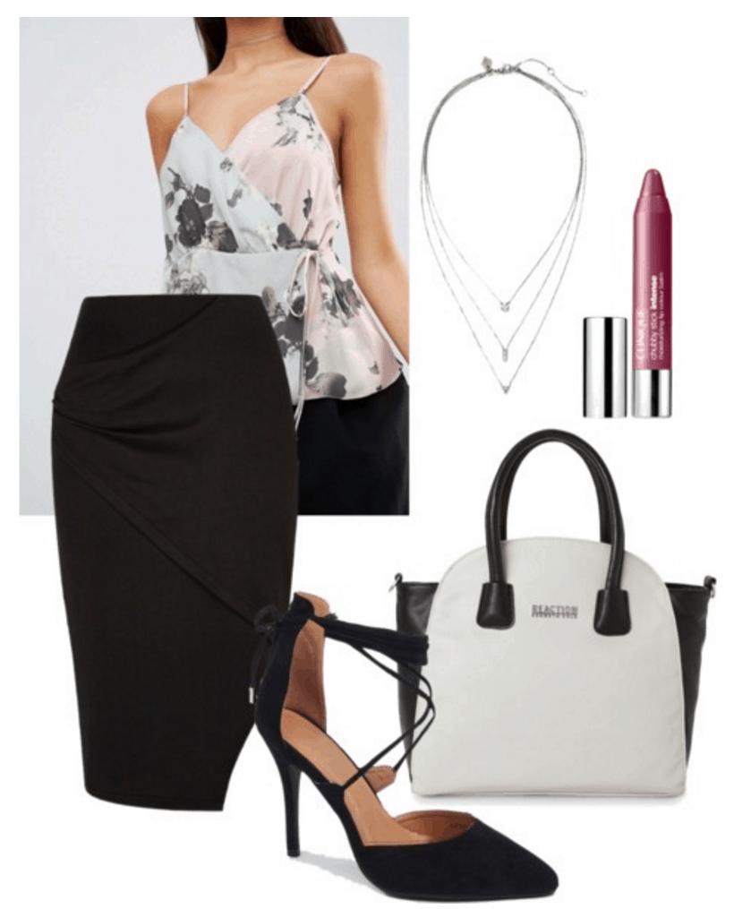 Blouse, skirt, heels.