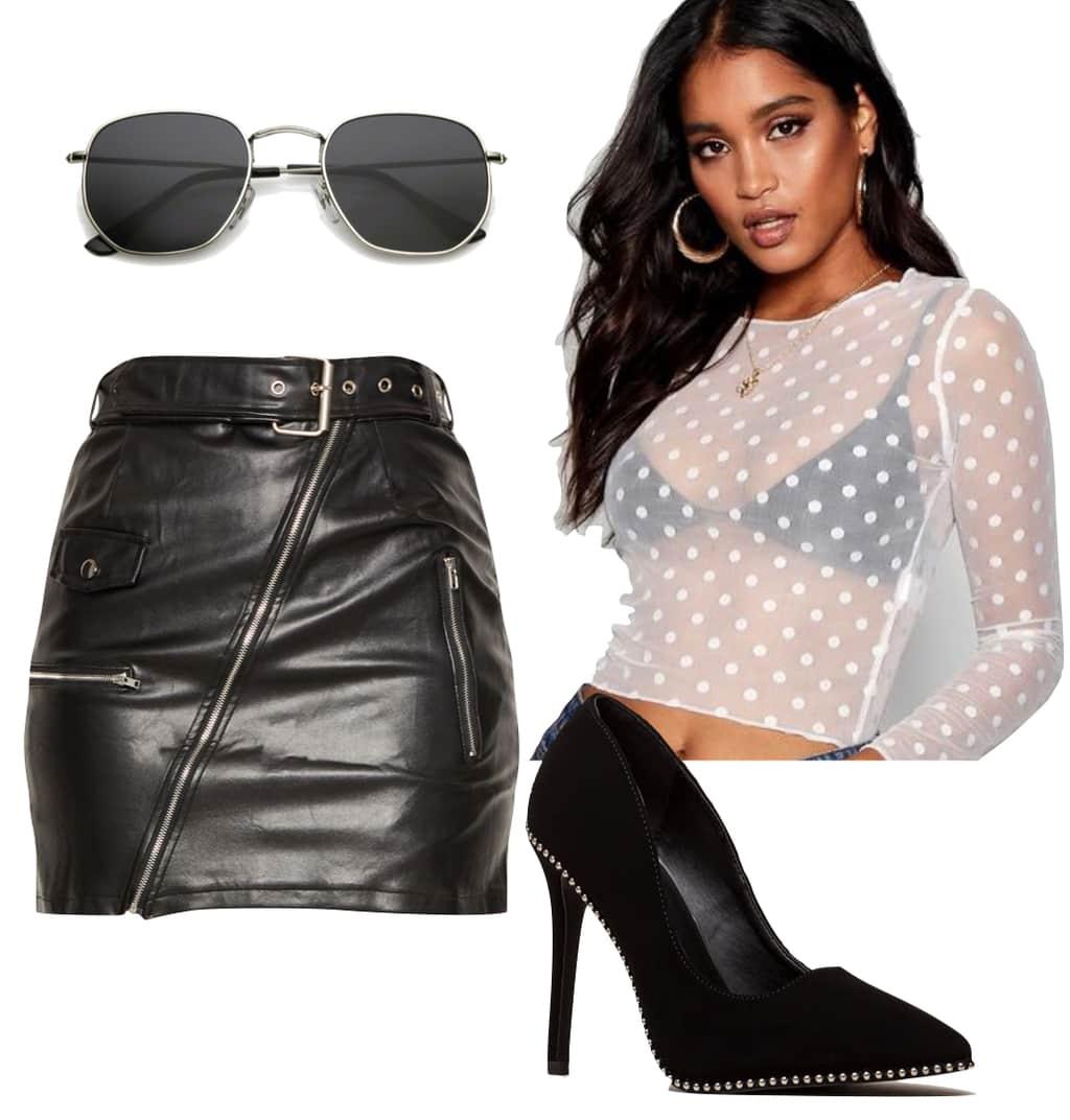Jamie Chung Outfit: sheer polka dot print top, hexagonal sunglasses, faux leather zipper mini skirt, black studded pumps