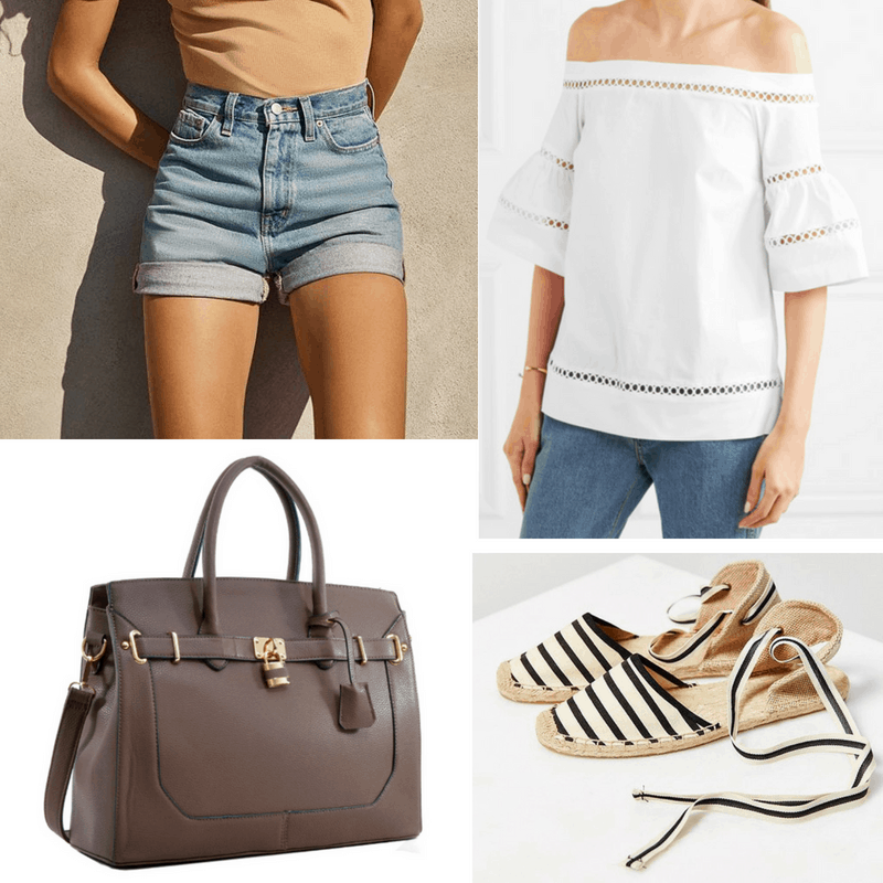 Jane Birkin style: Outfit inspired by Jane Birkin with high waisted shorts, off-shoulder top, striped espadrilles, faux Birkin bag