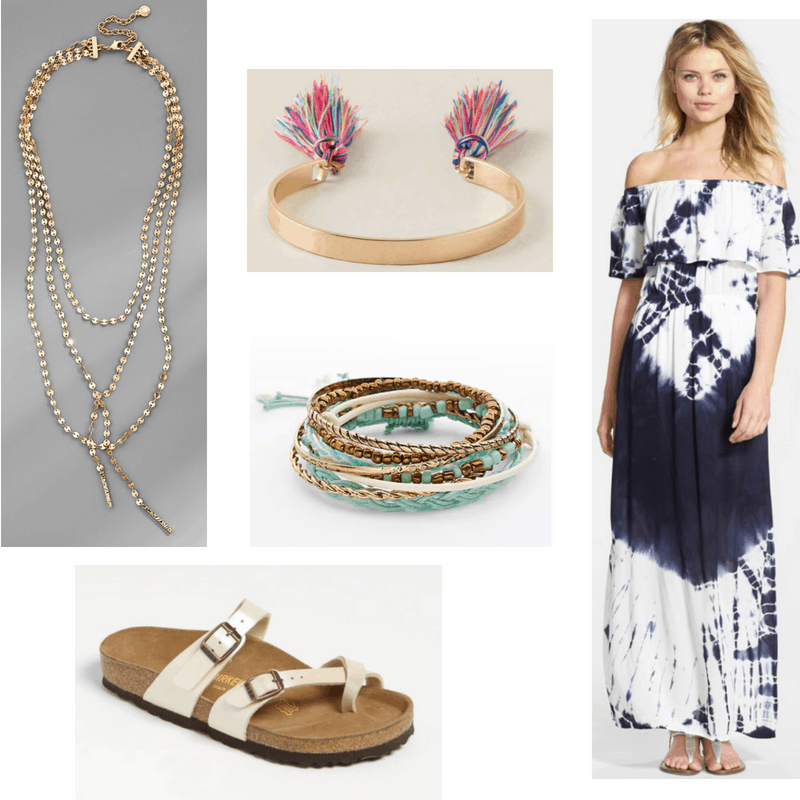 Janis Joplin style: Bohemian outfit inspired by Janis Joplin with tie dye maxi dress, Birkenstock sandals, layered necklaces, quirky bangle bracelets