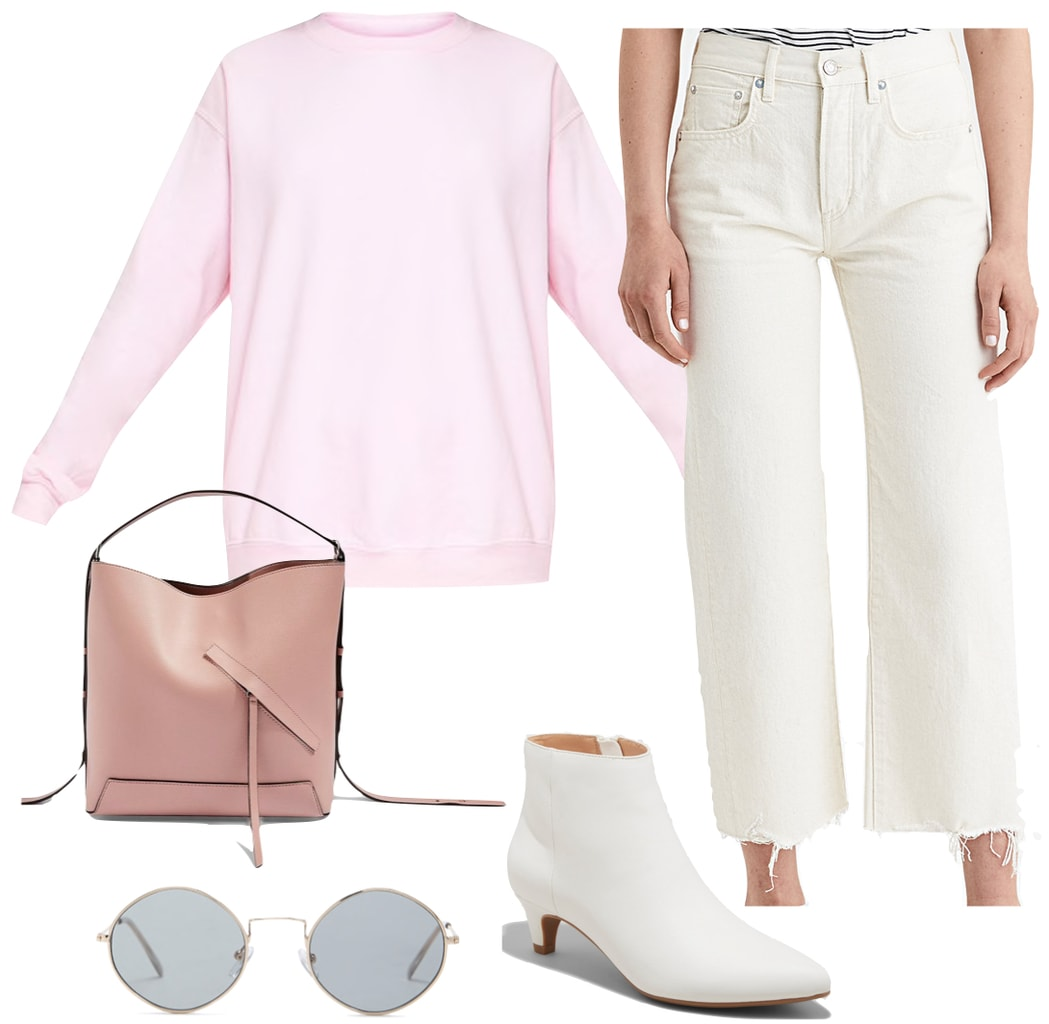 January Jones Outfit: baby pink sweatshirt, white wide leg crop jeans, white ankle booties, round gray sunglasses, and a blush pink handbag