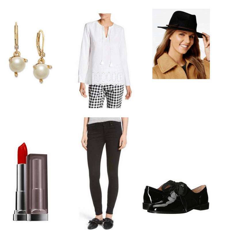Jazz-inspired outfit with white blouse, black pants, black oxfords, pearl earrings, fedora, and red lipstick