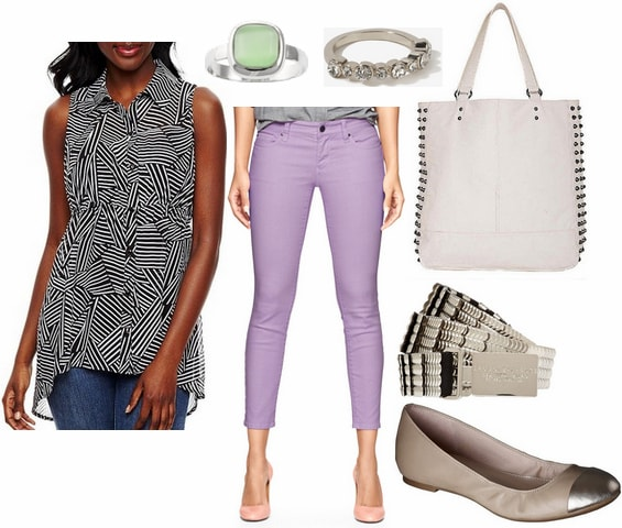 Jcp printed tunic, pastel purple jeans, cap toe flats
