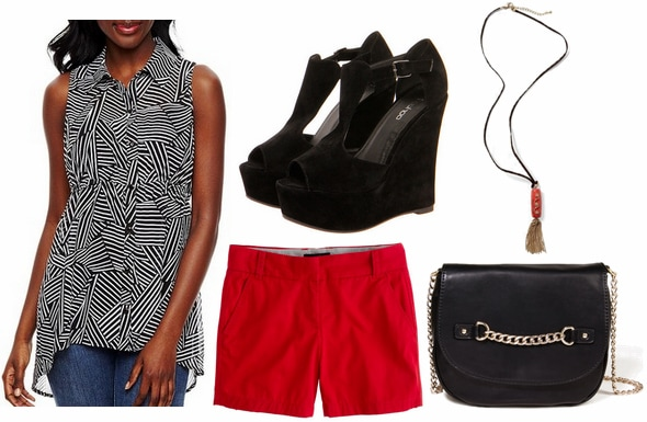 Jcp printed tunic, red shorts, tassel necklace