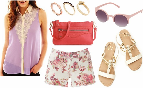 Jcp sleeveless lace blouse, floral shorts, white sandals