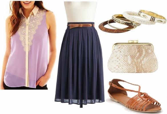 Jcp sleeveless lace blouse, navy skirt, huaraches