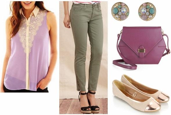Jcp sleeveless lace blouse, olive pants, cap toe flats