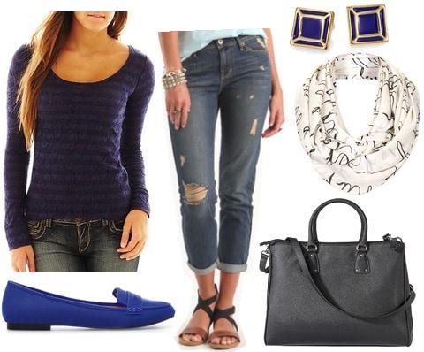 Jcp striped lace tee, boyfriend jeans, loafers