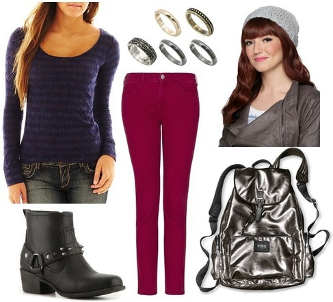 Jcp striped lace tee, colored skinnies, ankle boots