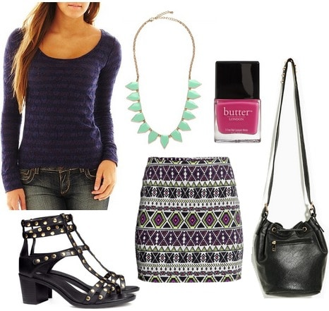Jcp striped lace tee, printed skirt, stud sandals