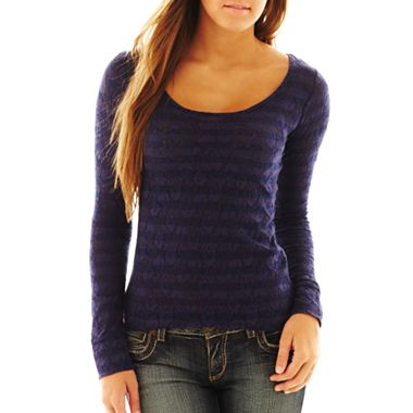 Jcpenney striped lace tee