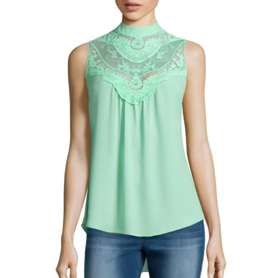 JCPenney Victorian Blouse in Ice Green
