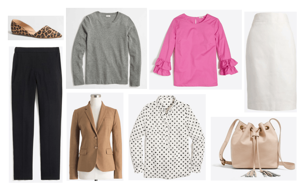Best work clothes at J.Crew Factory: Simple gray sweater, black trousers, camel blazer, black and white polka dot shirt, blush bucket bag, white pencil skirt, leopard print flats