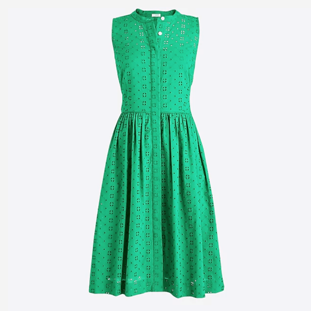 Bright green eyelet sleeveless fit-and-flare shirtdress