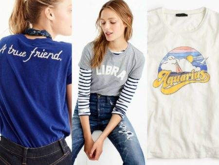 3 of J.Crew's new horoscope tees: back of scorpio, fronts of libra and aquarius