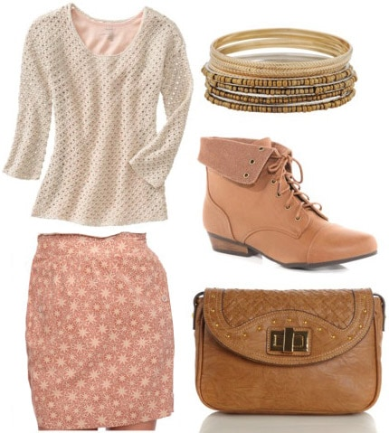 J.Crew-inspired Outfit: Pink floral skirt, tan sweater, cross-body bag, brown boots