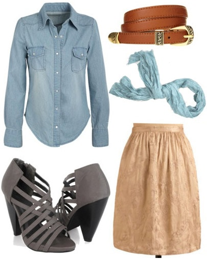 Outfit inspired by J.Crew: Mid-length tan skirt, chambray shirt, scarf, heels