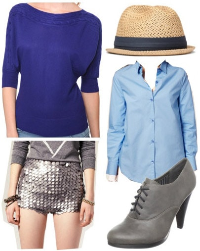 Outfit inspired by J.Crew: Blue sweater, button-down shirt, sequined shorts, ankle booties