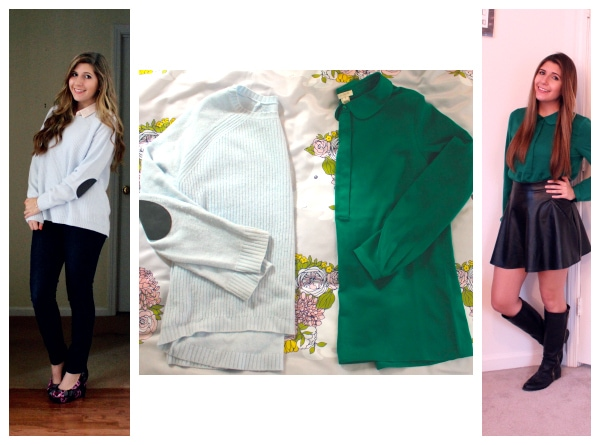 JCrew-Sky-Blue-Sweater-With-Gray-Elbow-Patches-Emerald-Green-Peter-Pan-Collar-Top-Collage-Haul.