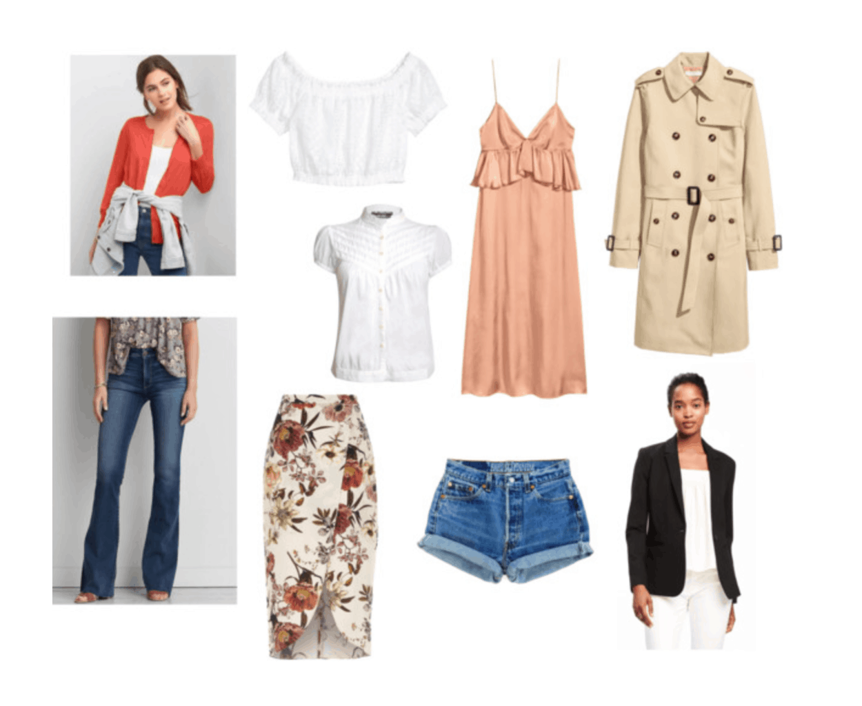 Jeanne Damas style: Example of Jeanne's clothing essentials, including off-the-shoulder top, colorful cardigan, floral midi skirt, denim cutoffs, black blazer, pink dress, beige trench