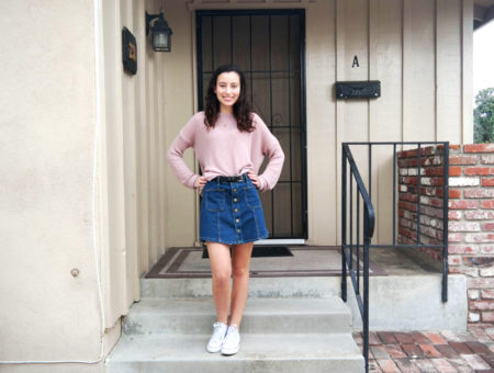 Warm weather fall/winter outfit: Sweater, button front denim skirt, Converse sneakers
