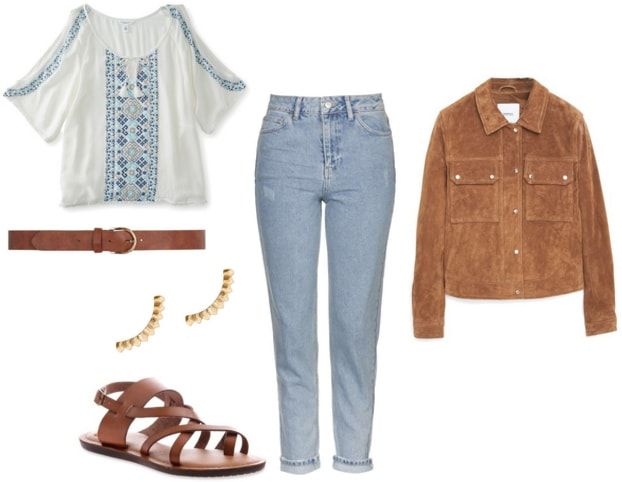 jeans, peasant blouse, suede jacket