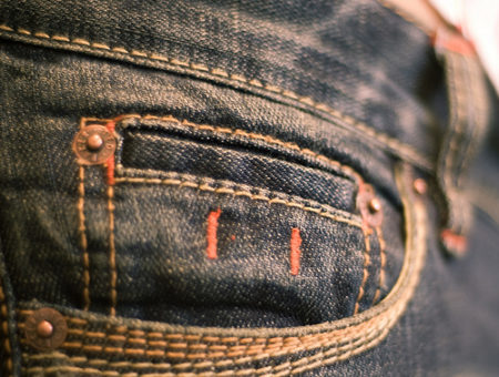 Close-up view of jeans