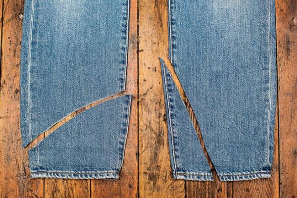 Jeans cut up