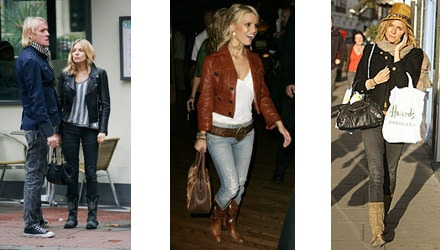 Jessica Simpson and Sienna Miller wearing cowboy boots tucked into jeans