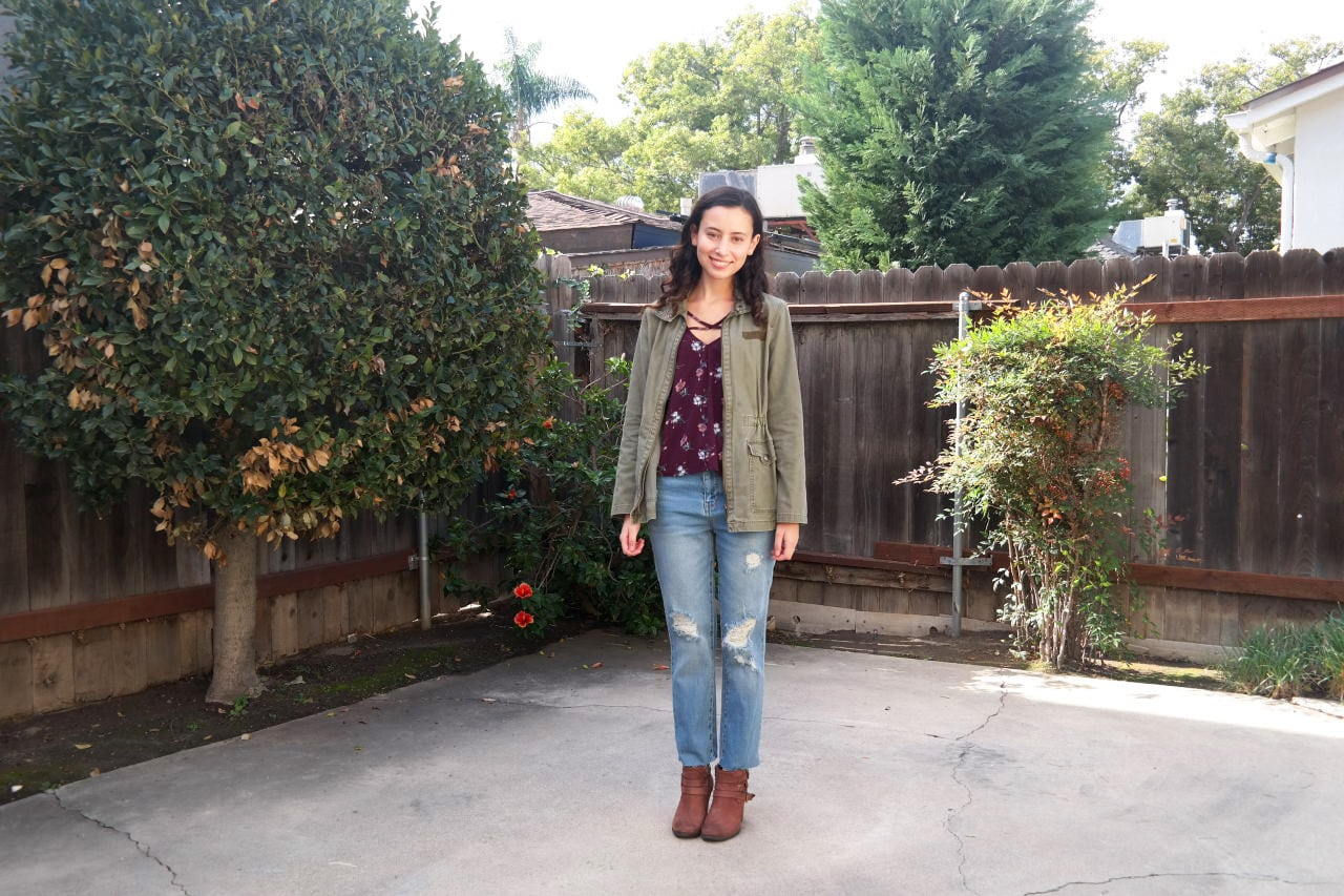Warm weather fall outfit 2: Ripped jeans, ankle boots, cute top, army jacket