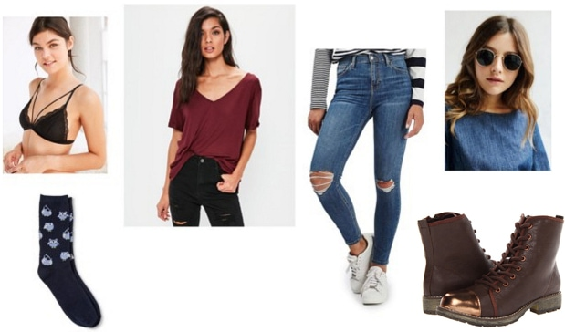 Dr. Jekyl and Mr. Hyde-inspired outfit: Burgundy v-neck tee, bralette, sunglasses, gold-toe boots
