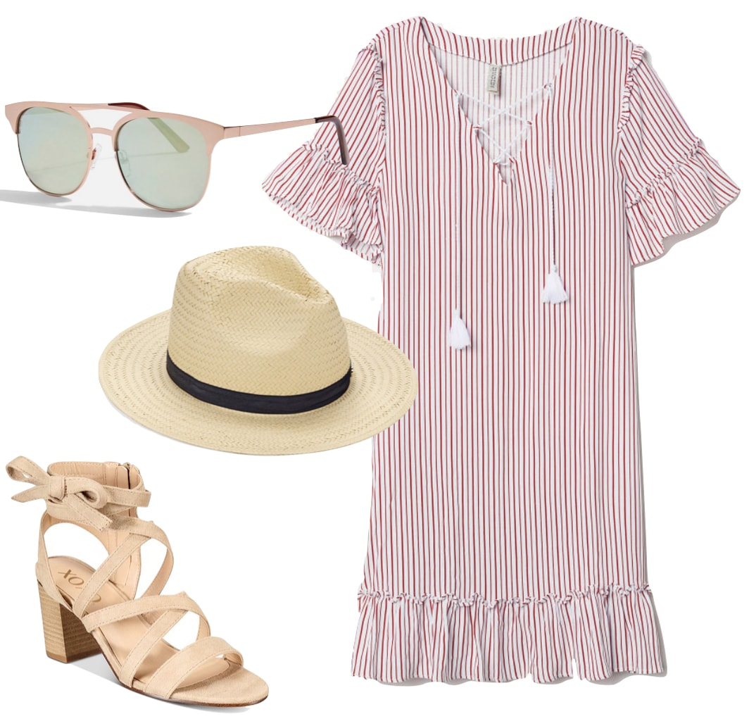 Jenna Dewan Outfit: red and white striped ruffle sleeve dress, straw fedora hat with black trim, rose gold sunglasses, and beige lace-up block heel sandals