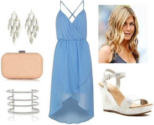 Jennifer Aniston blue hi lo dress silver wedges
