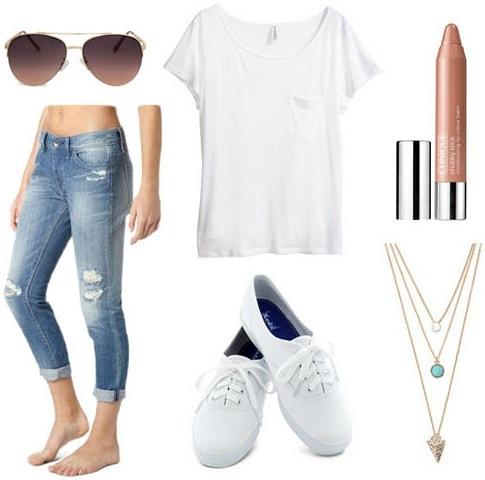 Jennifer Aniston boyfriend jeans white tee