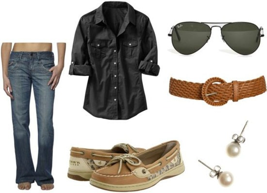 Jennifer Aniston casual outfit 1 - Button-down shirt, boyfriend jeans, boat shoes, belt, stud earrings, aviator sunglasses