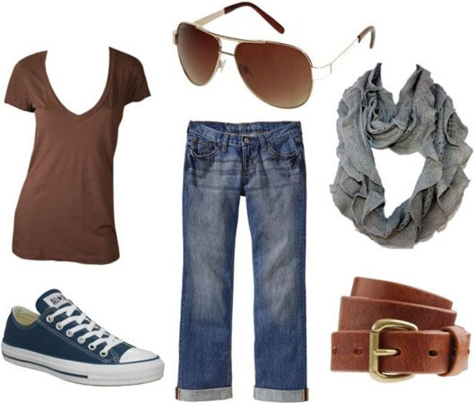 Jennifer Aniston casual outfit 3 - Loose jeans, v-neck tee, scarf, belt, converse, aviators