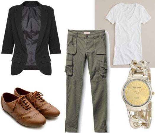 Jennifer Aniston casual outfit 4 - Army green cargo pants, v-neck tee, oxfords, black blazer