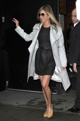 """Jennifer aniston in good spirits after appearing on the popular breakfast show """"good morning america"""" in new york"""