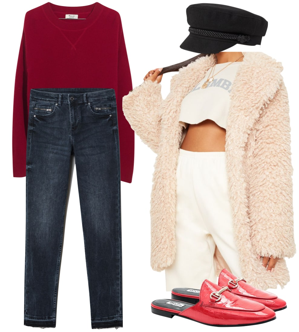 Jennifer Lawrence: red crew neck sweater, dark wash ankle jeans, black fisherman hat, stone colored teddy faux fur coat, and red crocodile mule flats