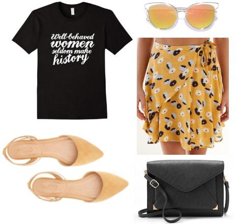 Outfit inspired by Jennifer Nettles: Feminist tee shirt, dandelion flats, wrap skirt, cross body bag