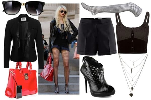 Jenny humphrey outfit 3: Fishnet stockings, red handbag, ankle booties, short black shorts, corset tank, leather jacket, sunglasses
