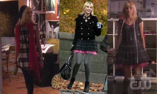 Jenny on Gossip Girl wearing dresses with hot pink