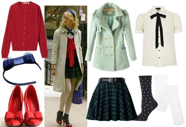Jenny humphrey look 1 with mint peacoat plaid skirt white tights polkadot socks red pumps bow headband bow blouse and red cardigan
