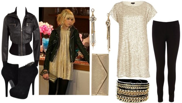 Jenny humphrey look 2 with gold tshirt dress black leggings black booties leather bomber jacket gold clutch bangles and gold drop earrings