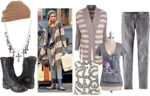 Jenny humphrey look 3: grey striped sweater, skinny grey jeans, combat boots, graphic tee, layered necklaces, slouchy beanie hat