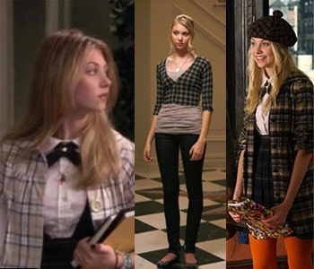 Jenny Humphrey from Gossip Girl (Taylor Momsen) wearing prints and plaids