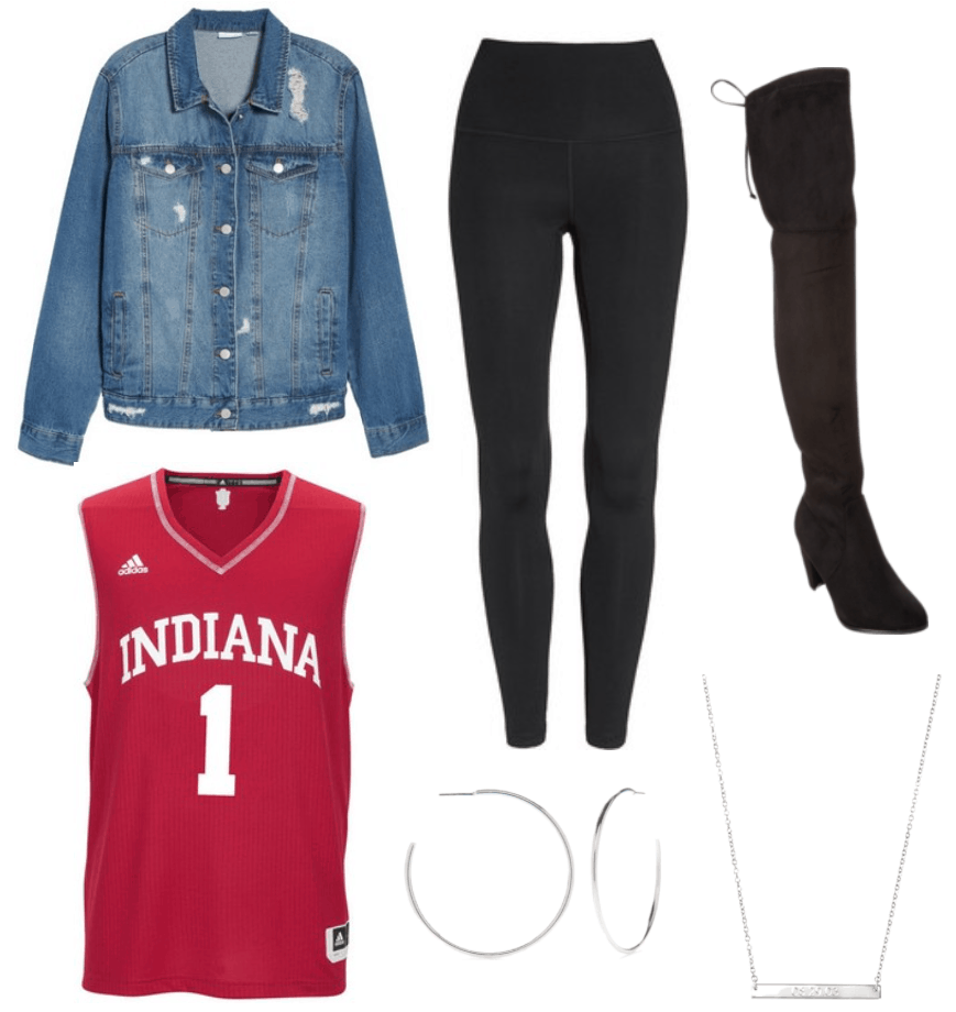 Women's jersey themed party outfit with Indiana jersey, denim jacket, black leggings, black over the knee boots, silver necklace and hoop earrings
