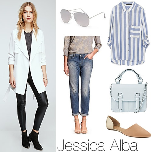 Outfit inspired by Jessica Alba: White coat, boyfriend jeans, striped shirt, baby blue bag, aviators, nude flats