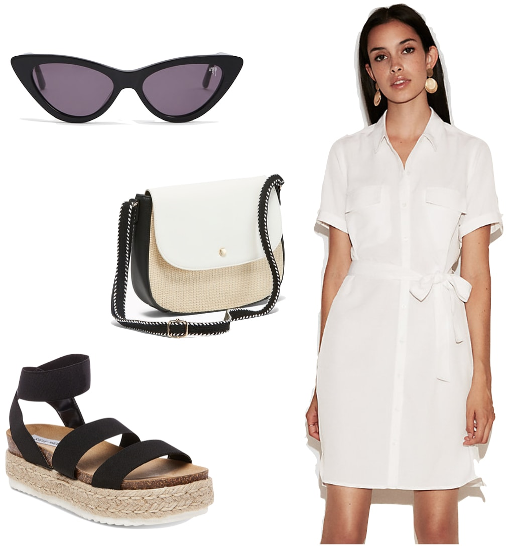 Jessica Alba Outfit: white shirt dress, black cat eye sunglasses, a color blocked crossbody bag, and black platform espadrille sandals
